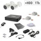 Комплект видеонаблюдения Tecsar AHD 2OUT + 1TБ HDD