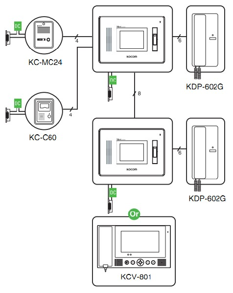 Схема подключения Kocom KVR-